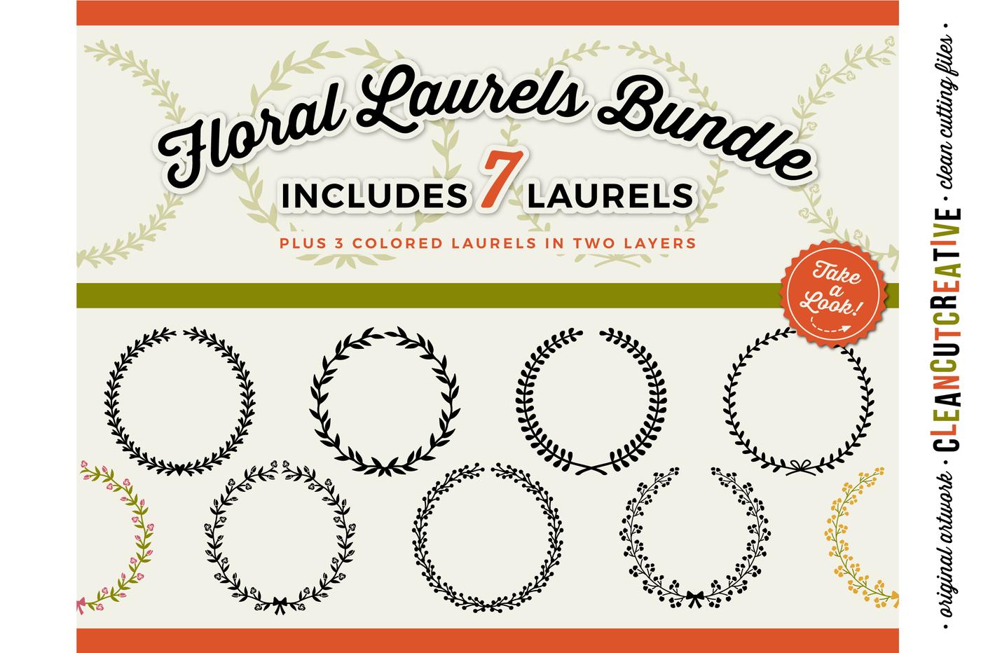 7 Svg Floral Laurels Floral Leaf Circle Frames Svg Dxf Eps Png