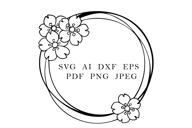 Round Frame With Sakura Flowers Cherry Blossom Wreath By Esha