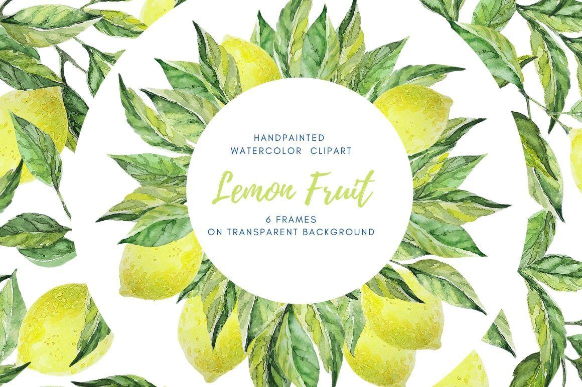 Digital Download Watercolor Border Lemon Borders And Frames By
