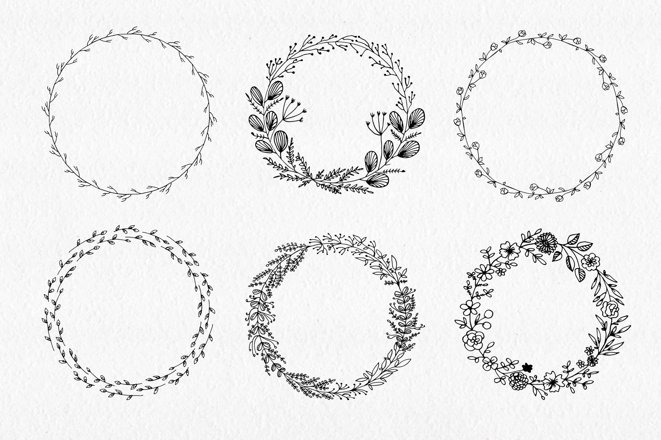 30 Hand Drawn Floral Wreath Simple Line Drawing By Istratova