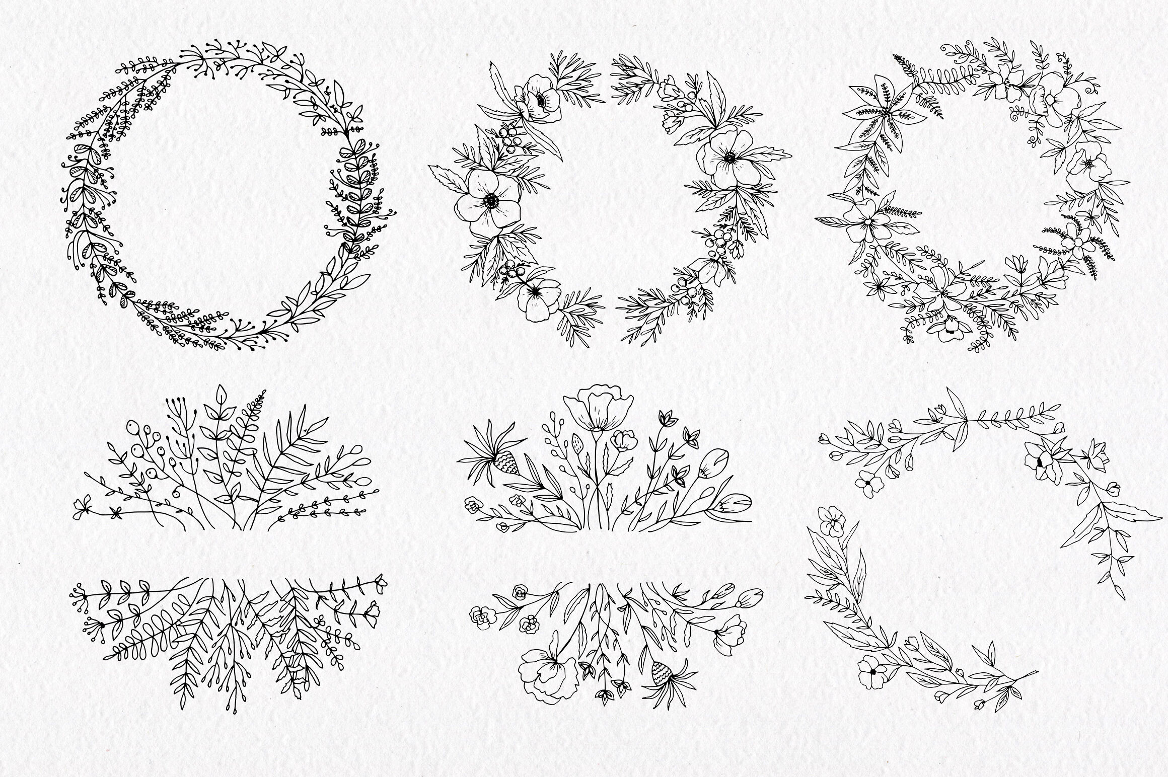 30 Hand Drawn Floral Wreath Simple Line Drawing By Istratova Thehungryjpeg Com