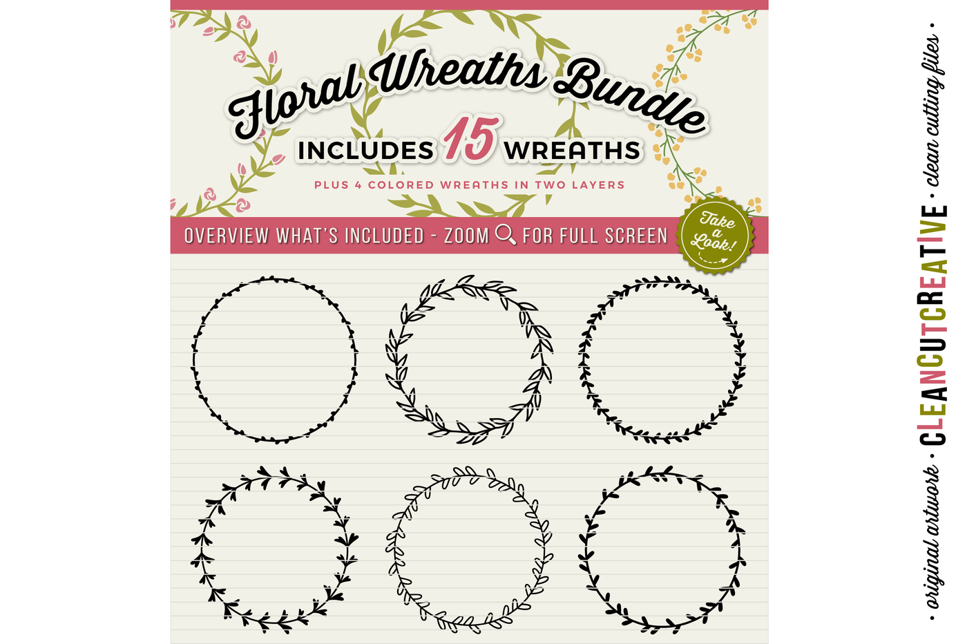 Floral Mega Bundle Svg Wreaths Laurels And Hearts Leaf Frames