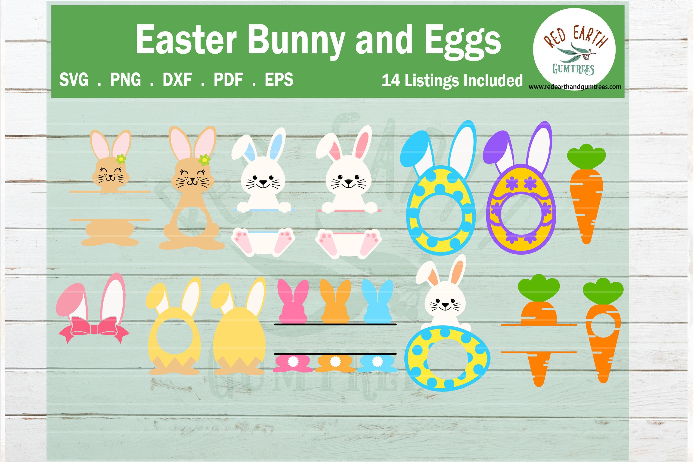 Easter Bunny And Eggs Monogram Frames Bundle Svg Rabbit Svg By