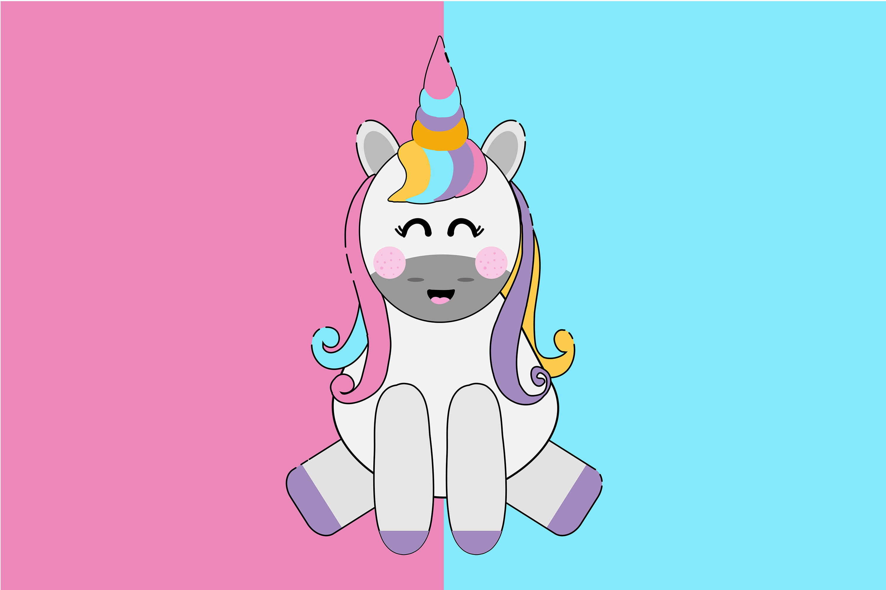 Kawaii Cute Unicorn By Red Sugar Design Thehungryjpeg Com