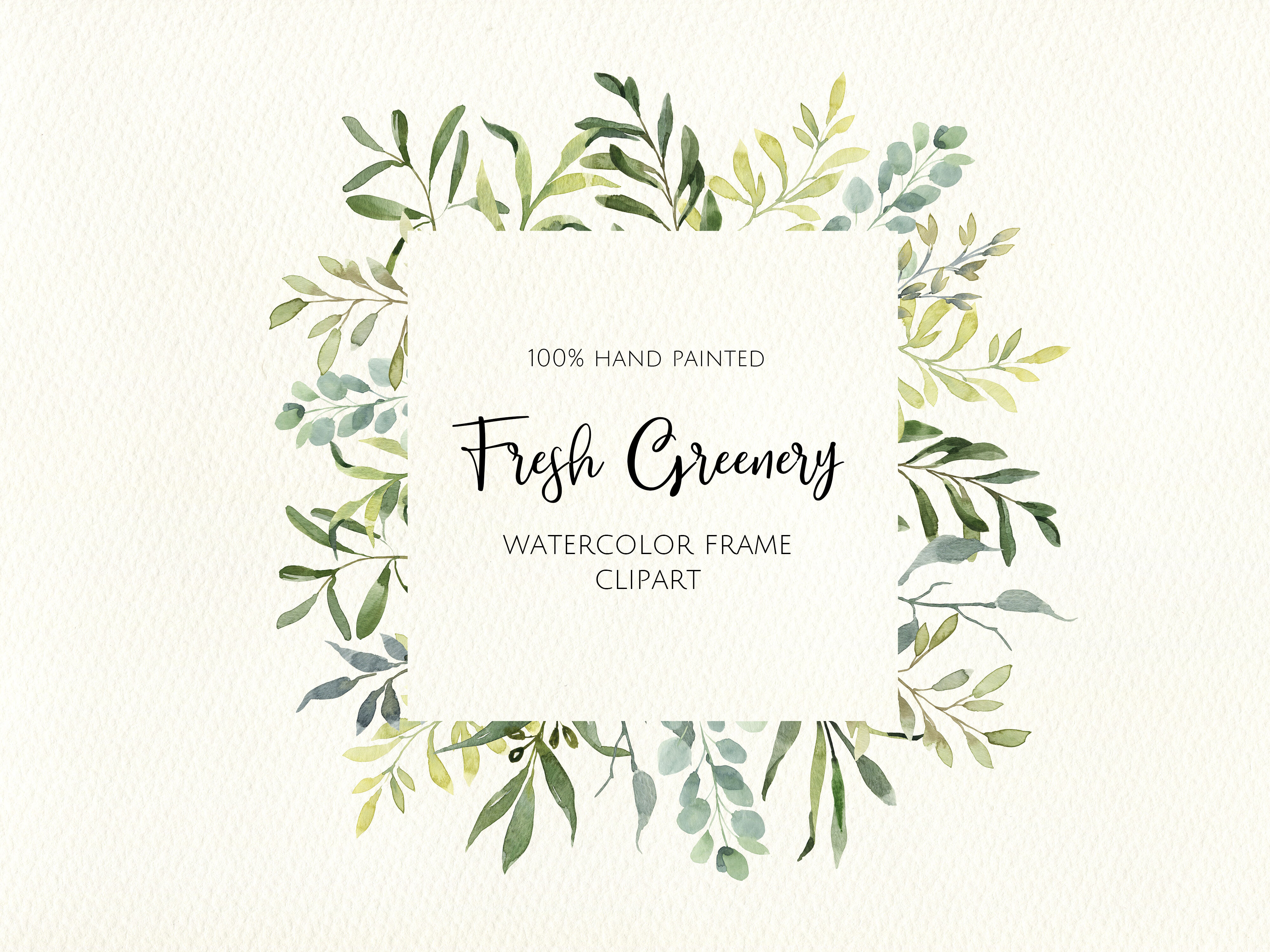 Watercolor Greenery Frame Digital Clipart Instant Download