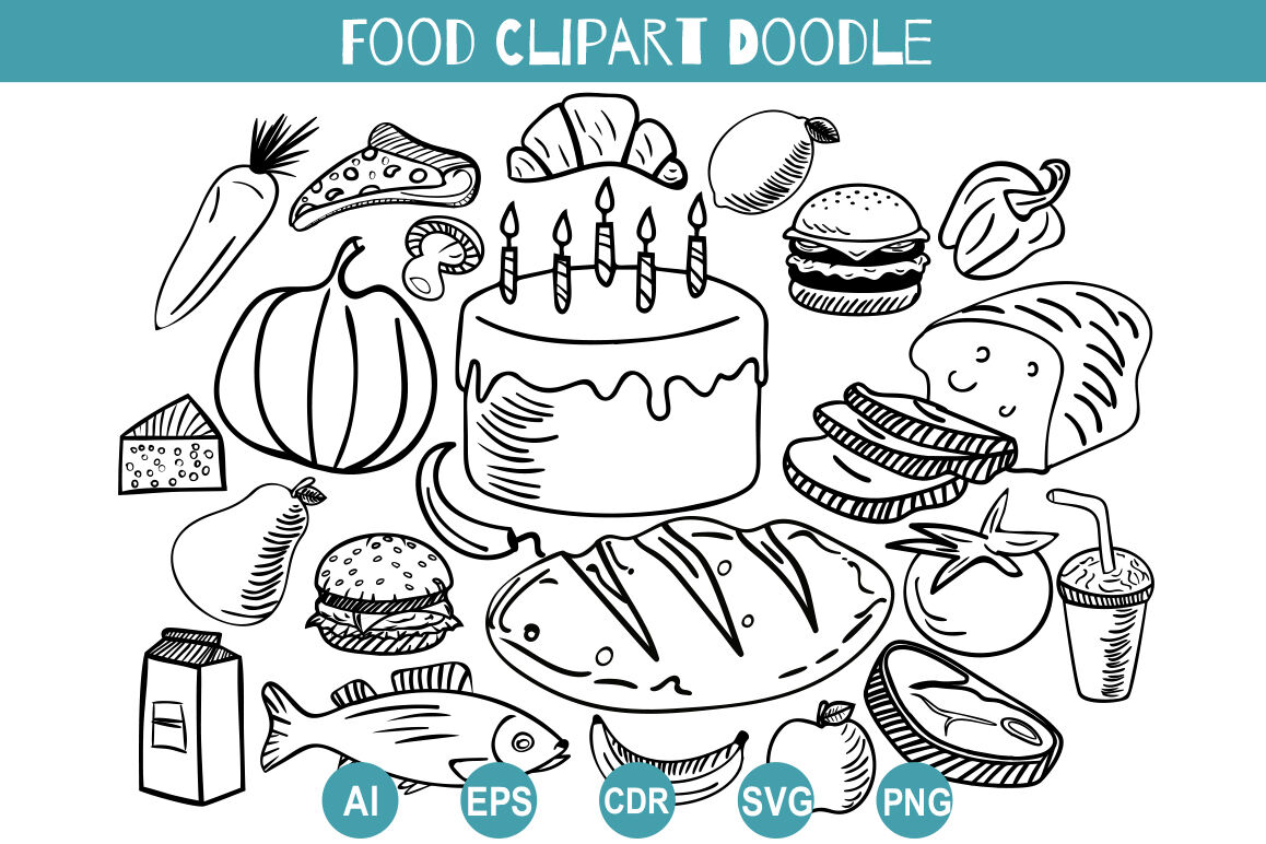 Food Doodle Clipart Svg Hand Drawn Set Delicacies By Dreamer S