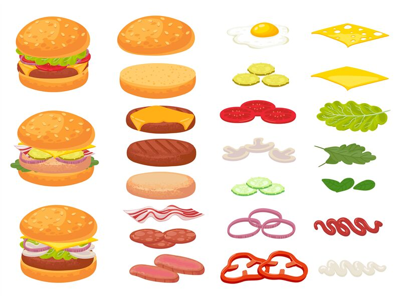 Cartoon Burger Ingredients Hamburger Chop Bun And Tomato Ham