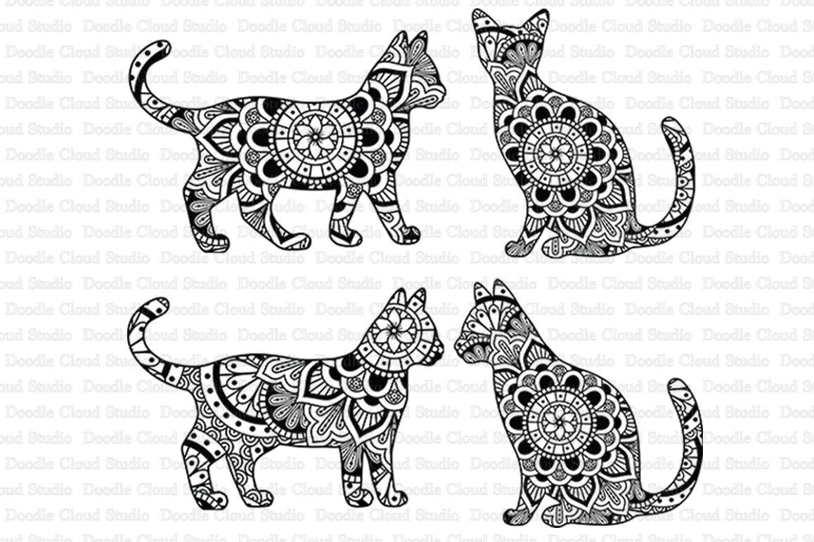 Cat Mandala Cut Files Svg Cat Mandala Clipart By Doodle Cloud