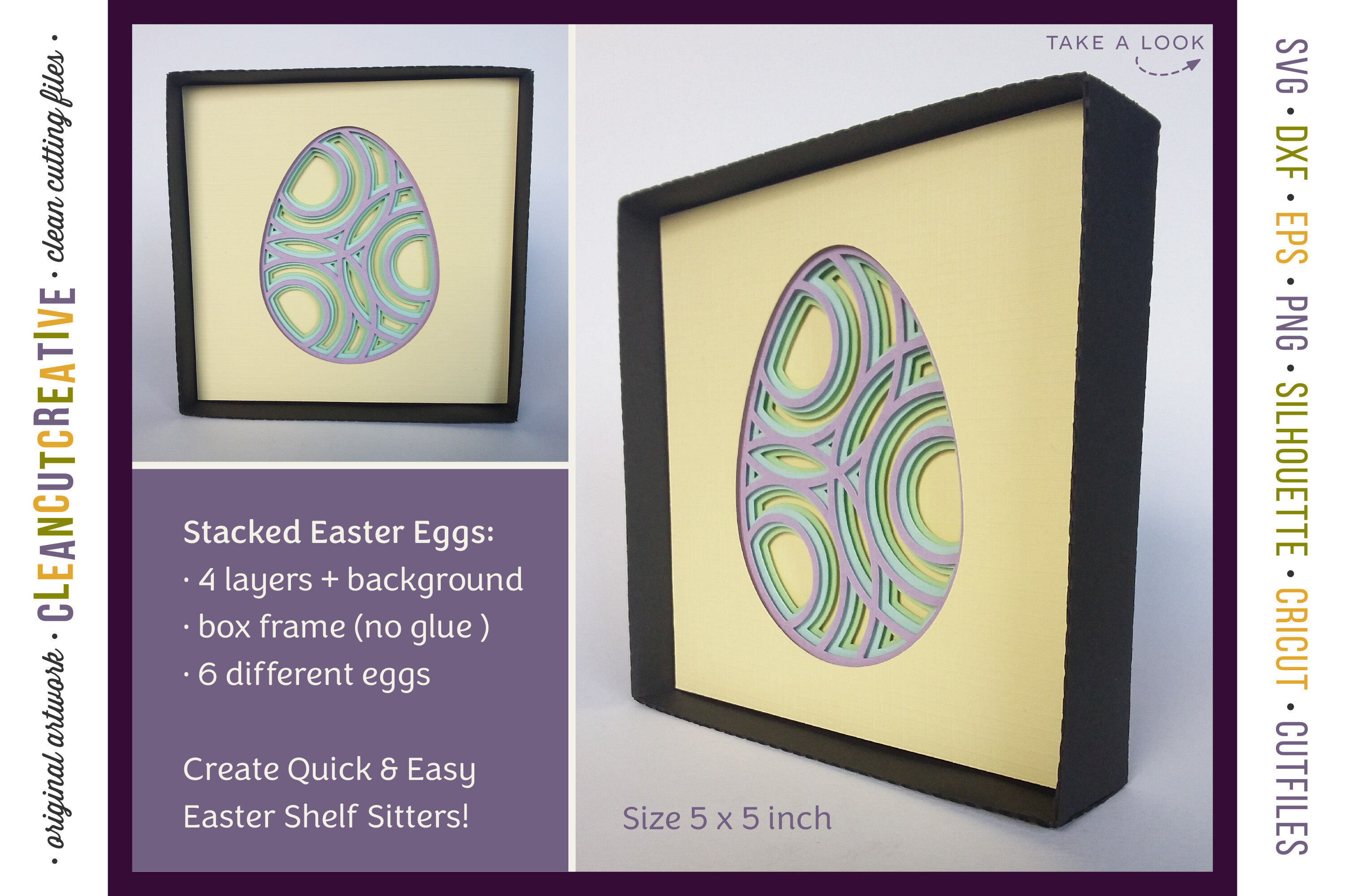 3d Layered Easter Egg Shelf Sitters Shadow Boxes Stacked Paper