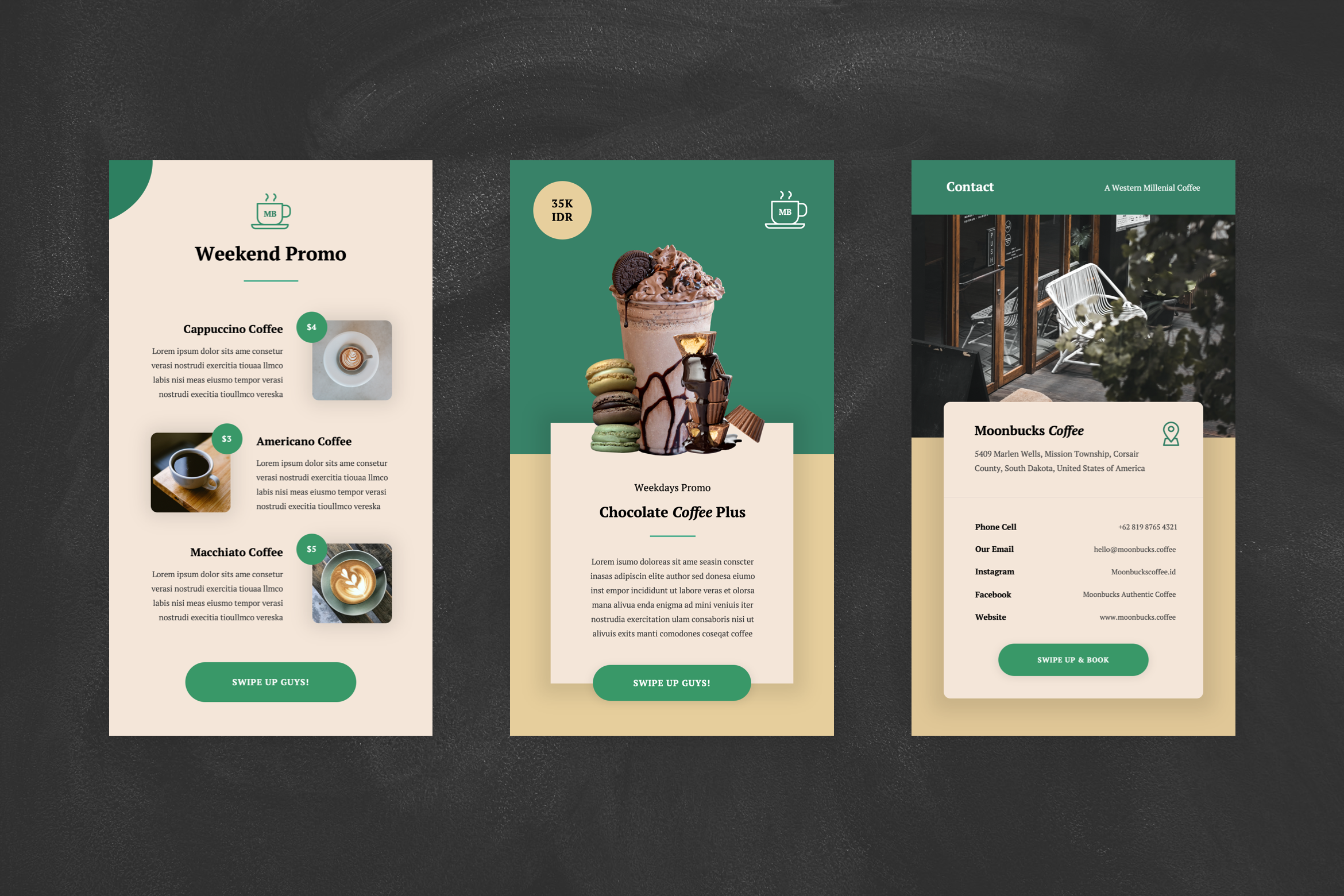 Coffee Shop Instagram Stories Google Slides Template By