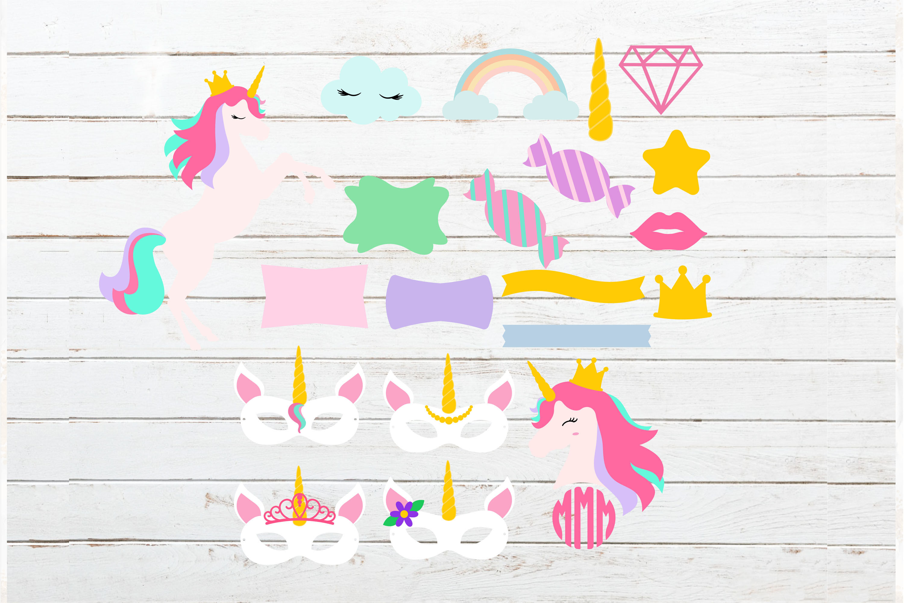 Huge Unicorn Theme Bundle Donuts Ice Cream Svg Png Dxf Eps By