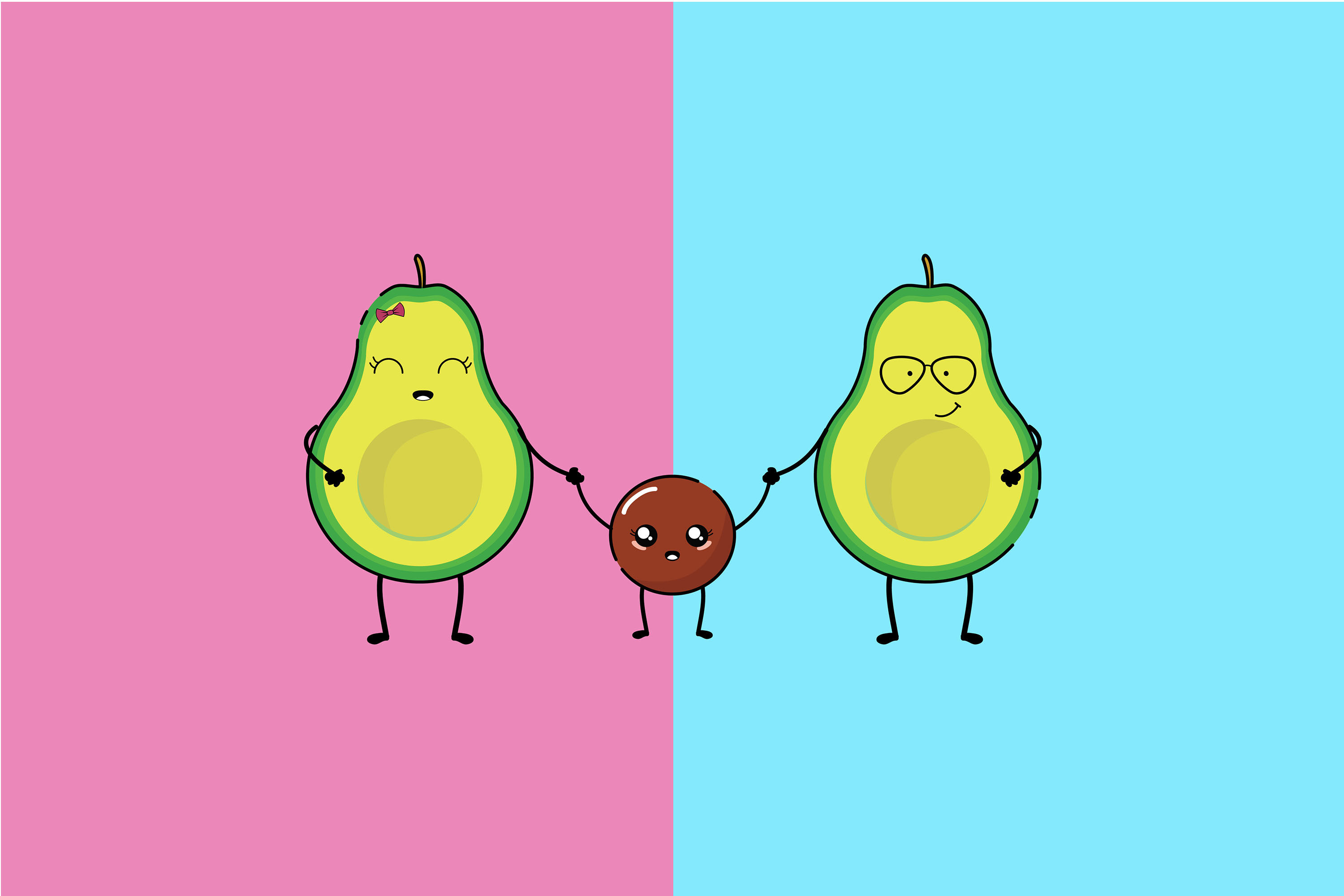 Kawaii Cute Avocado By Red Sugar Design Thehungryjpeg Com