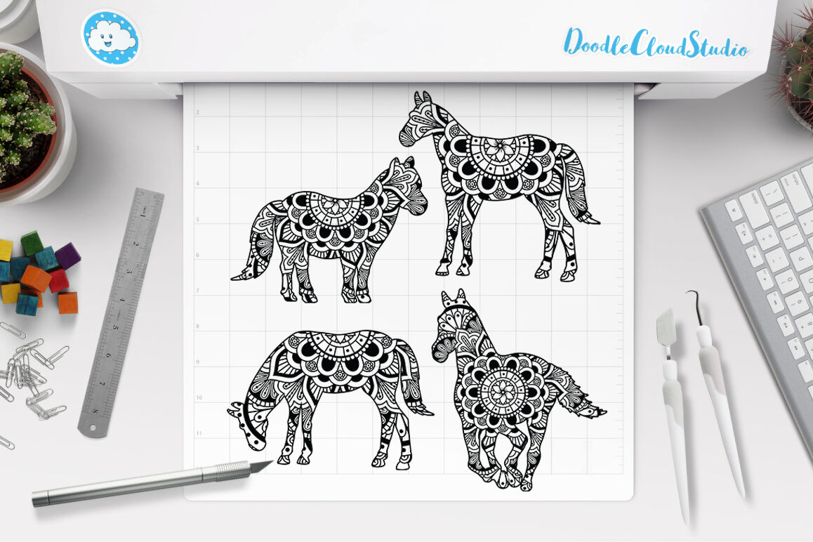 Horse Mandala Cut Files Svg Horse Mandala Clipart By Doodle