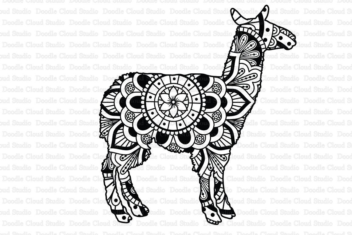 Llama Mandala Svg Cut Files Llama Mandala Clipart By Doodle