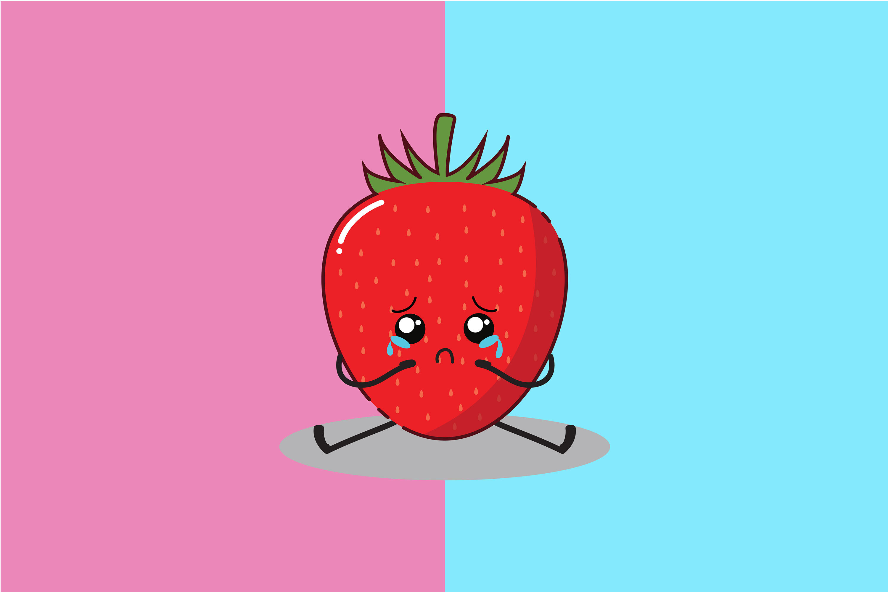 Kawaii Cute Sad Strawberry By Red Sugar Design