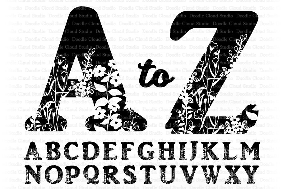 Floral Alphabet Svg Cut Files Floral Alphabet Clipart By Doodle