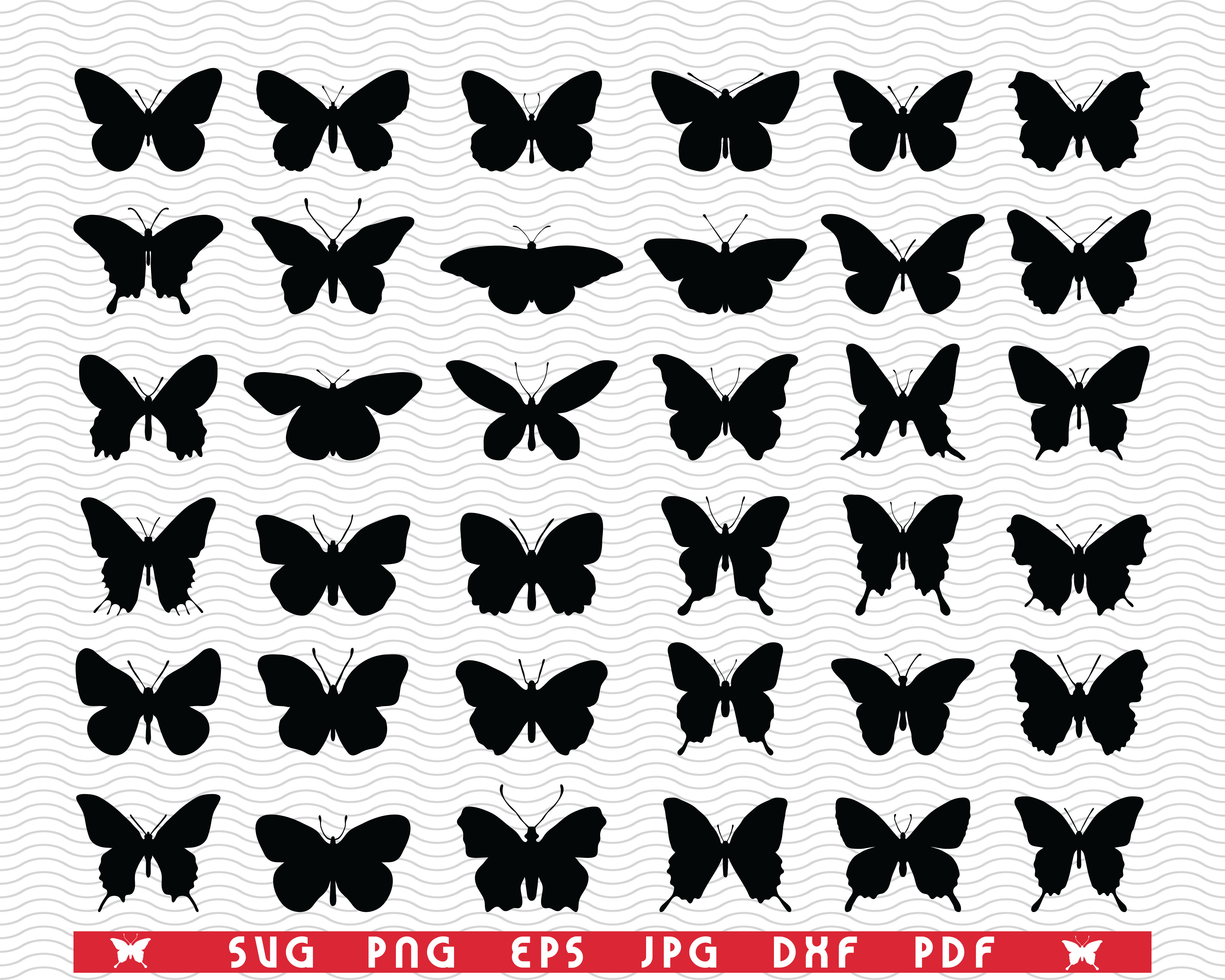 Svg Butterflies Black Silhouettes Digital Clipart By