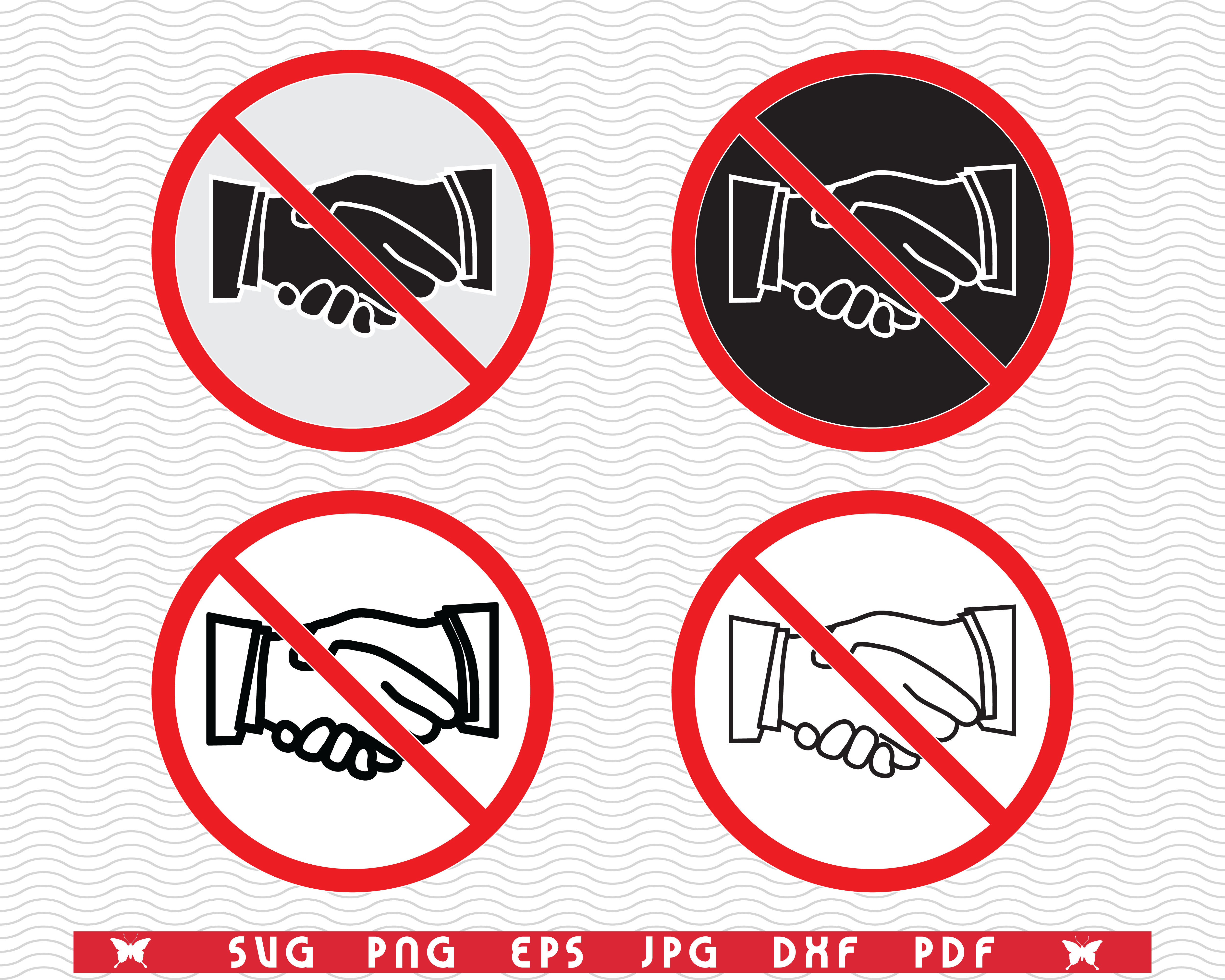 Svg No Handshake Prohibiting Sign By Designstudiorm Thehungryjpeg Com No thanks no hand shake shaking corona safety. the hungry jpeg