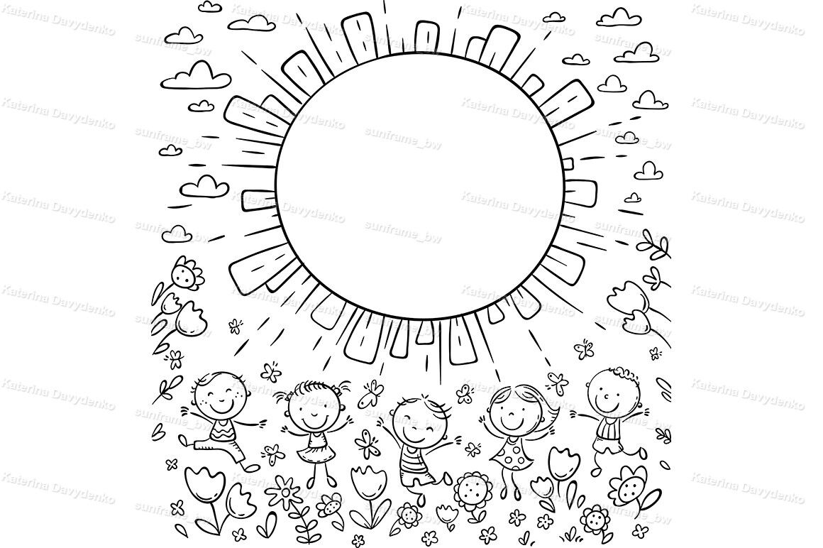 Sun Frame With Happy Doodle Kids And A Round Copy Space By