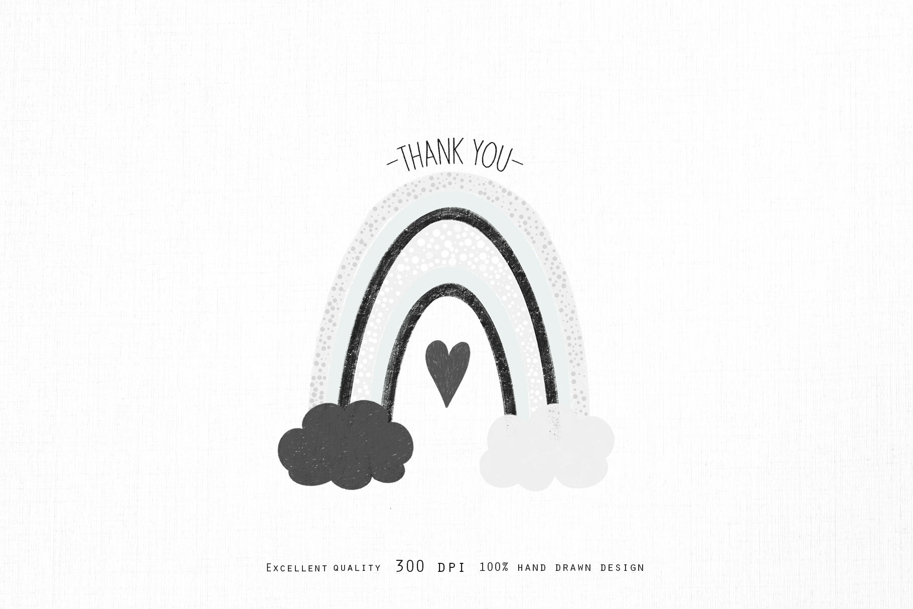 Black And White Rainbow Clipart By Happywatercolorshop
