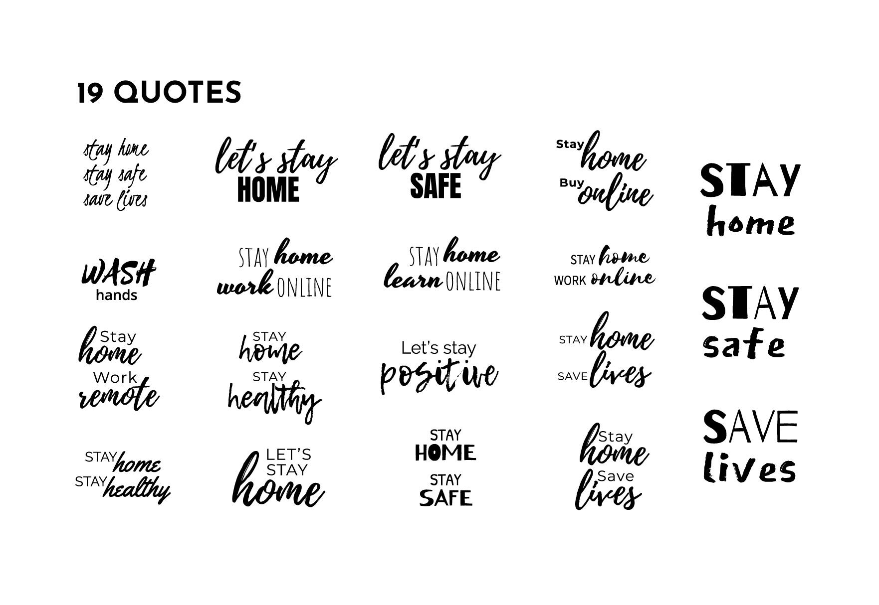 Stay Home Stay Safe Quotes Set Covid 19 By Blueoceanartstore