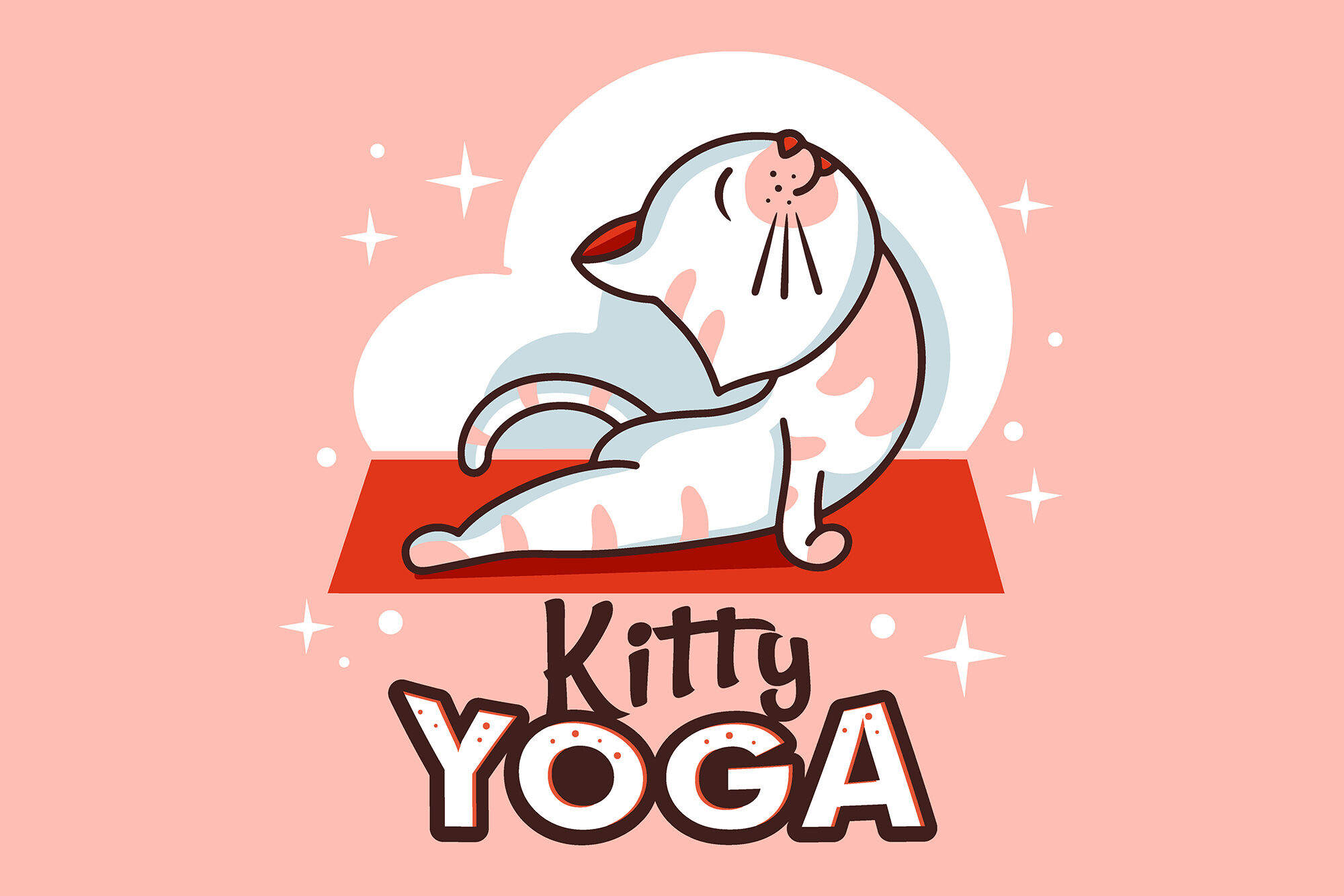 Funny Kitty Yoga Cartoon Character By Lettering Logo Thehungryjpeg Com