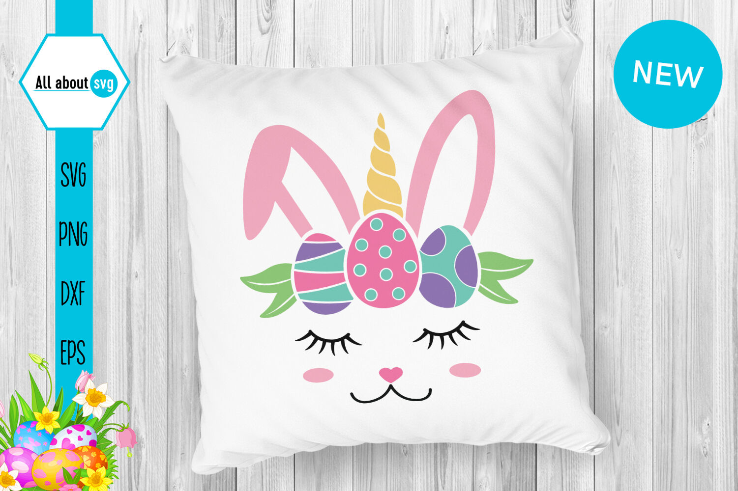 Easter Bunny Unicorn Svg By All About Svg Thehungryjpeg Com
