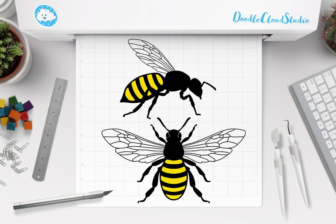 Bee Svg Honey Bee Svg Insect Svg Bee Clipart By Doodle Cloud