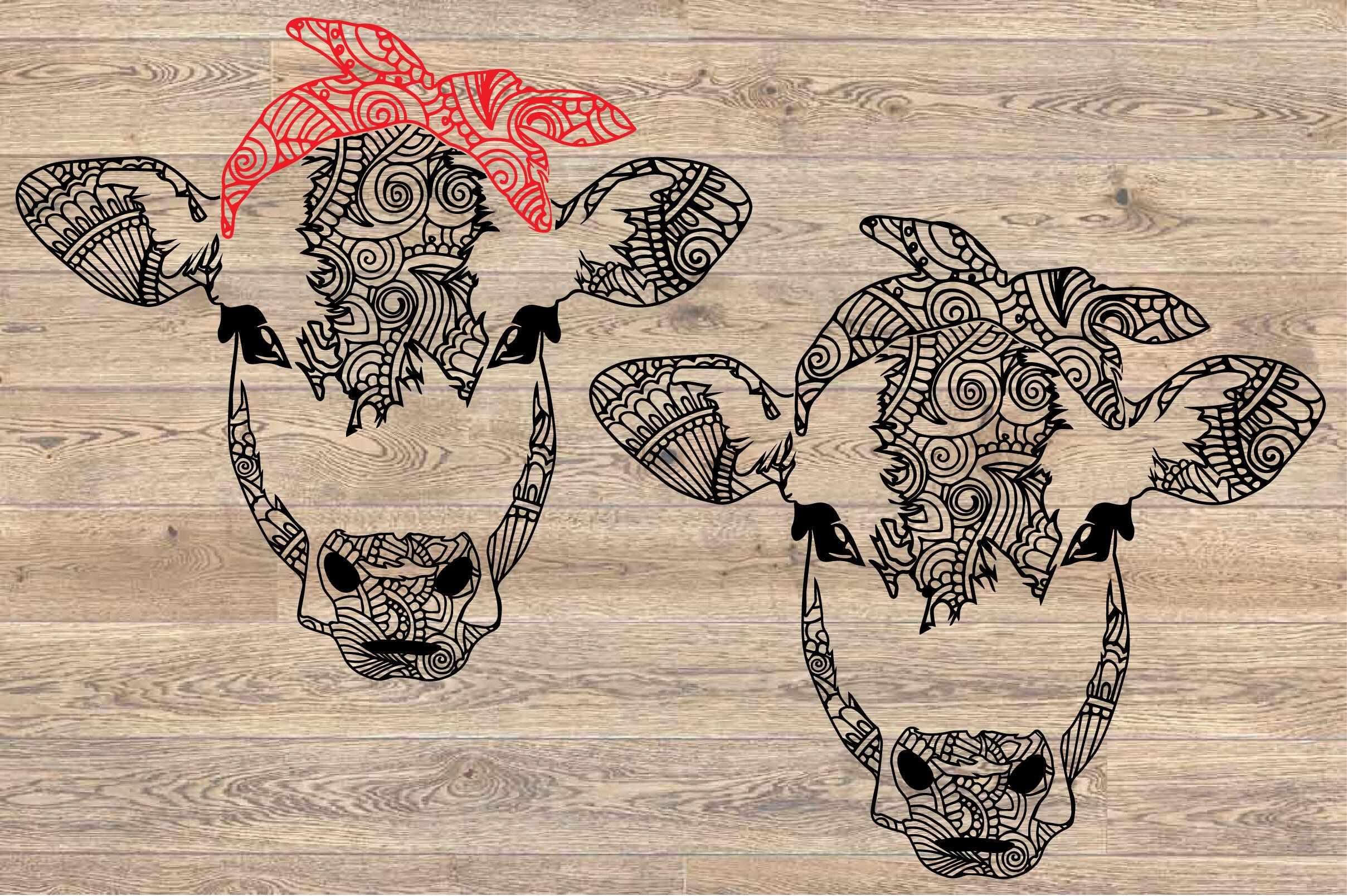 Cow Whit Bandana Mandala Svg Zentangle Cow Svg 1716s By