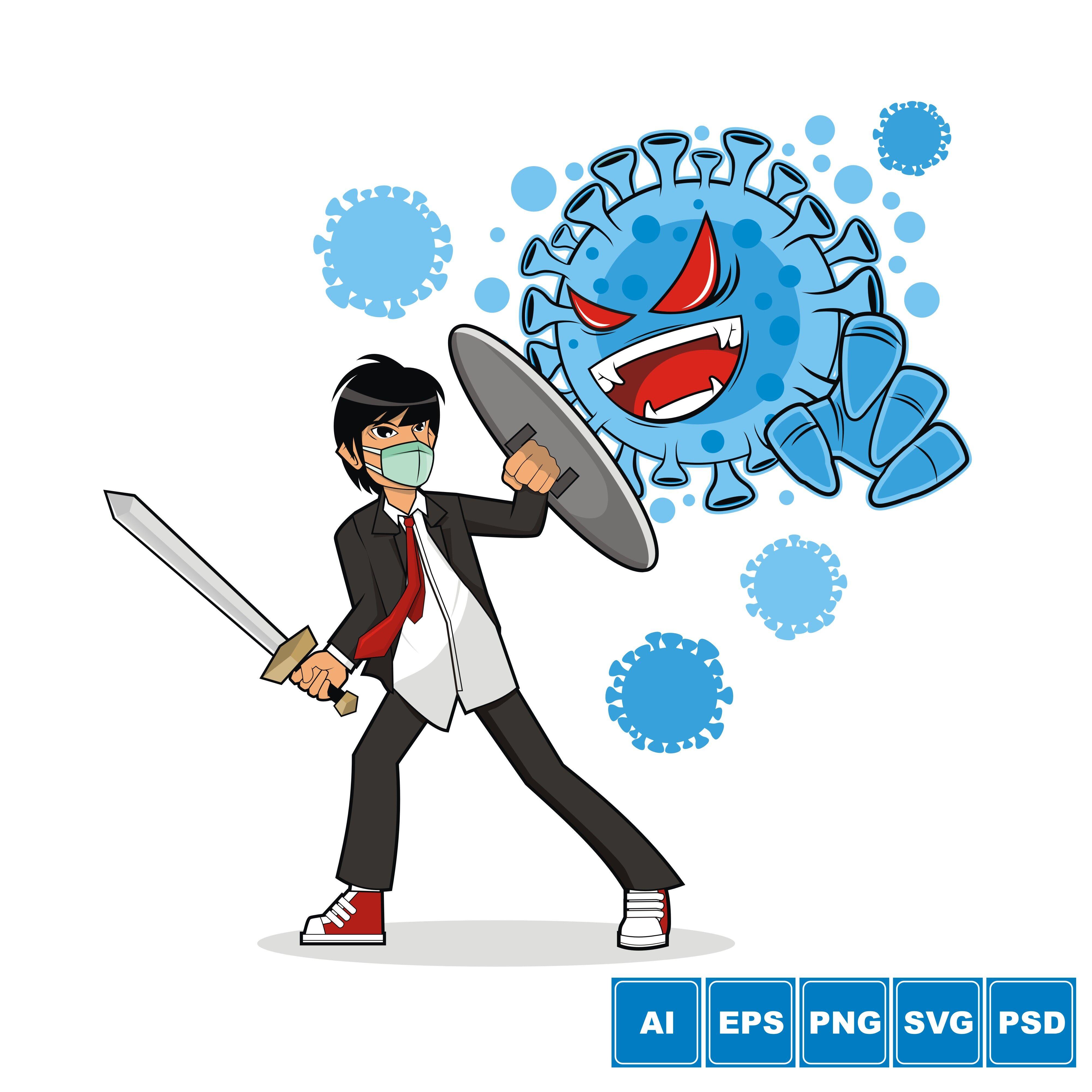 A Guy Against Corona Virus Vector Illustration By Azkaryzki