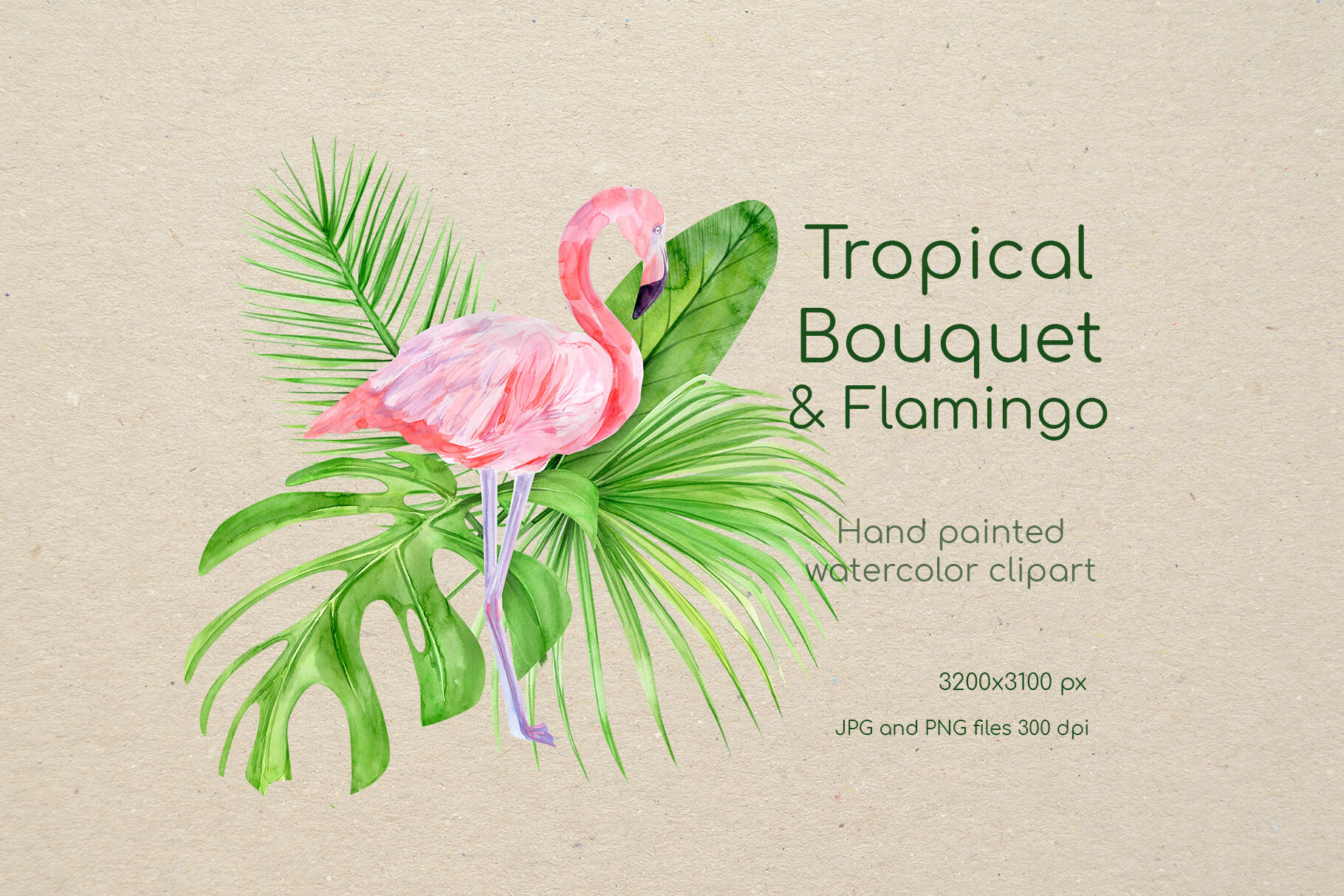 Watercolor Flamingo Clipart. Tropical pink famingo, summer ...
