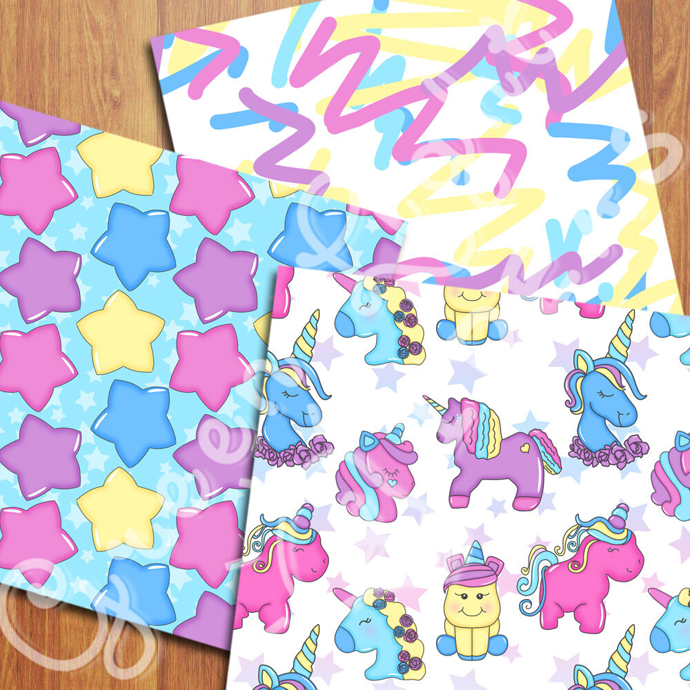 Unicorns Digital Papers Kawaii Party Backgrounds Unicorn
