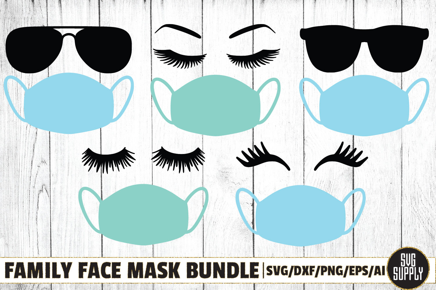 Family Face Mask Bundle Svg Cut File By Svgsupply Thehungryjpeg Com