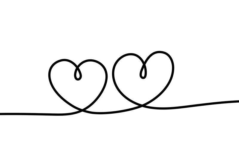 Two Hearts Romantic Continuous One Line Drawing Connecting Two