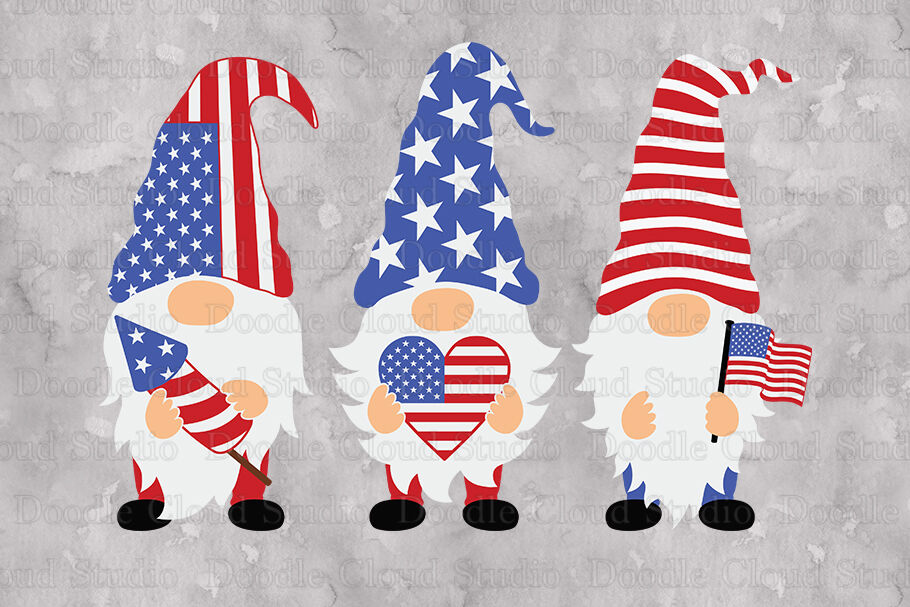 Patriotic Gnomes Svg Cut Files 4th Of July Svg American Gnome