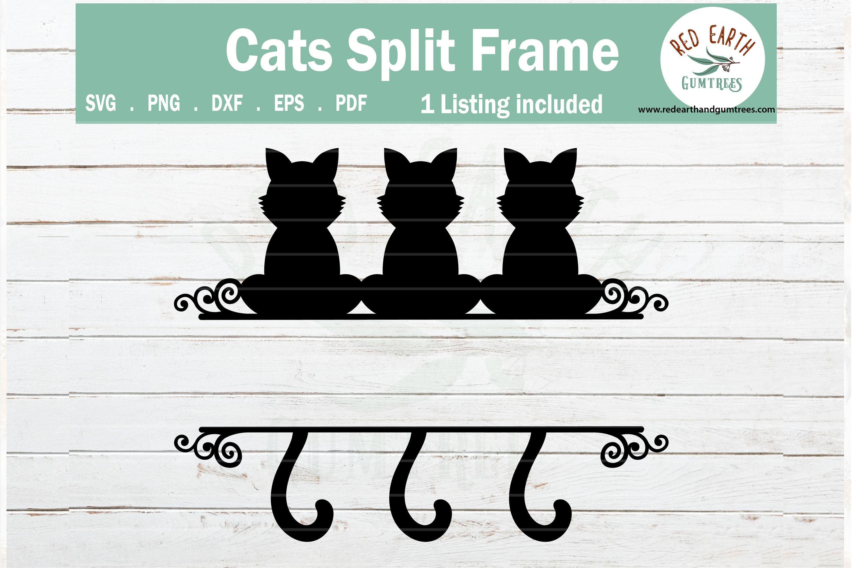 Cat Split Monogram Frame Svg Sitting Cats Svg Png Dxf Eps By