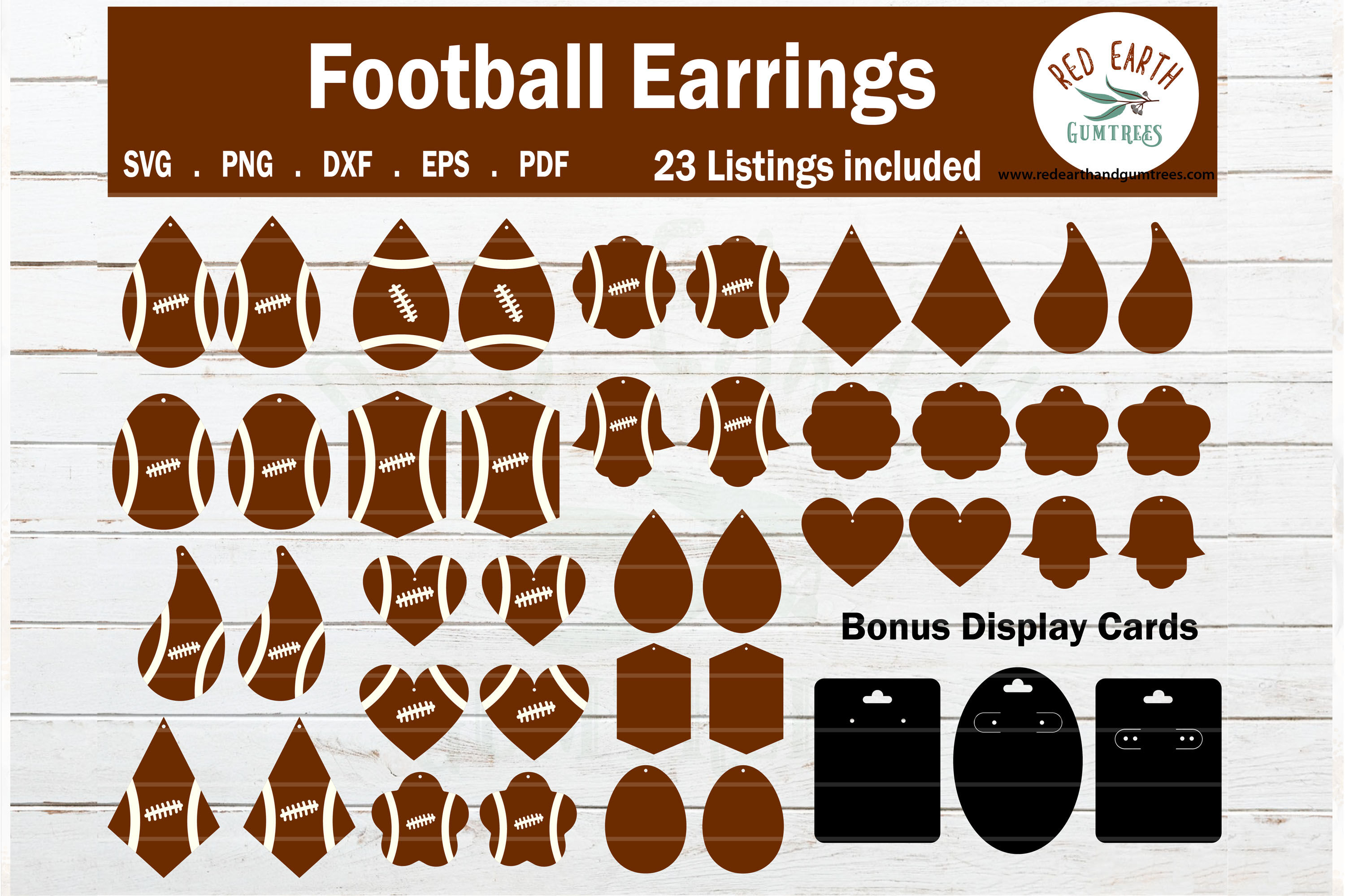 Football Earrings Template With Display Card Svg Png Dxf Eps By