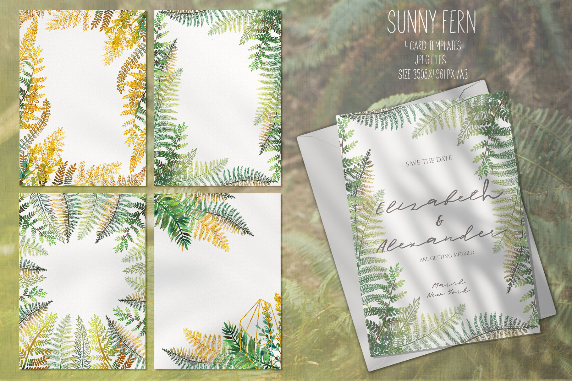 Sunny Fern Tropical Forest Collection By Happywatercolorshop