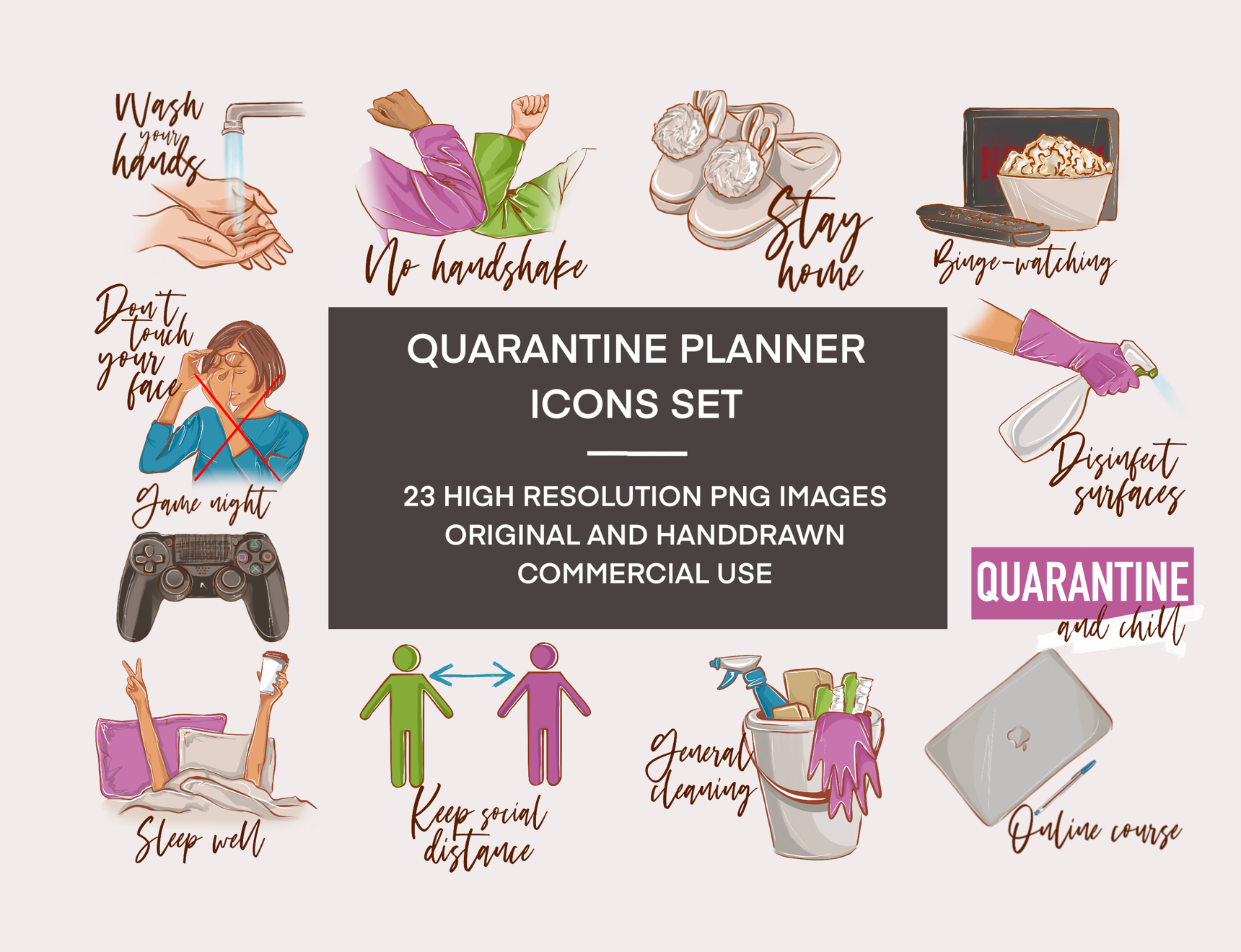 Quarantine Stickers Printable Coronavirus Clipart Lockdown