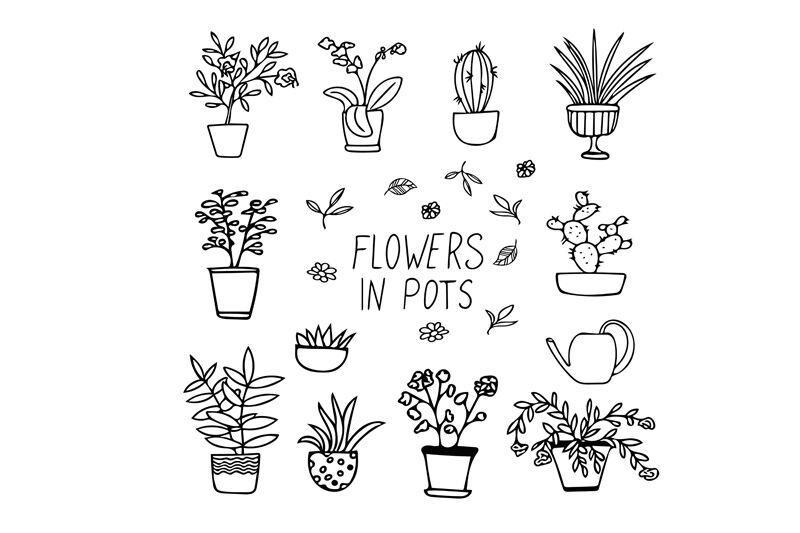 Flowers In Pots Doodle Set By Irina Samoylova Thehungryjpeg Com