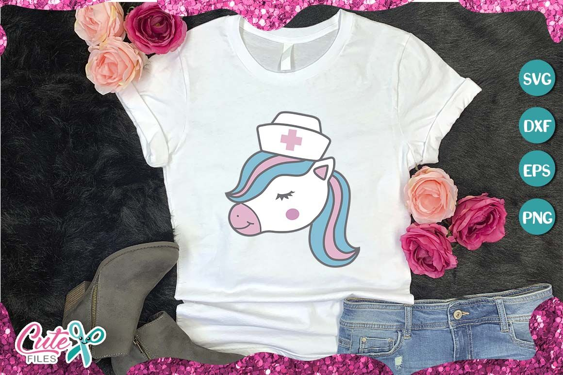 Nurse Unicorn Face Svg Cut File For Crafter By Cute Files