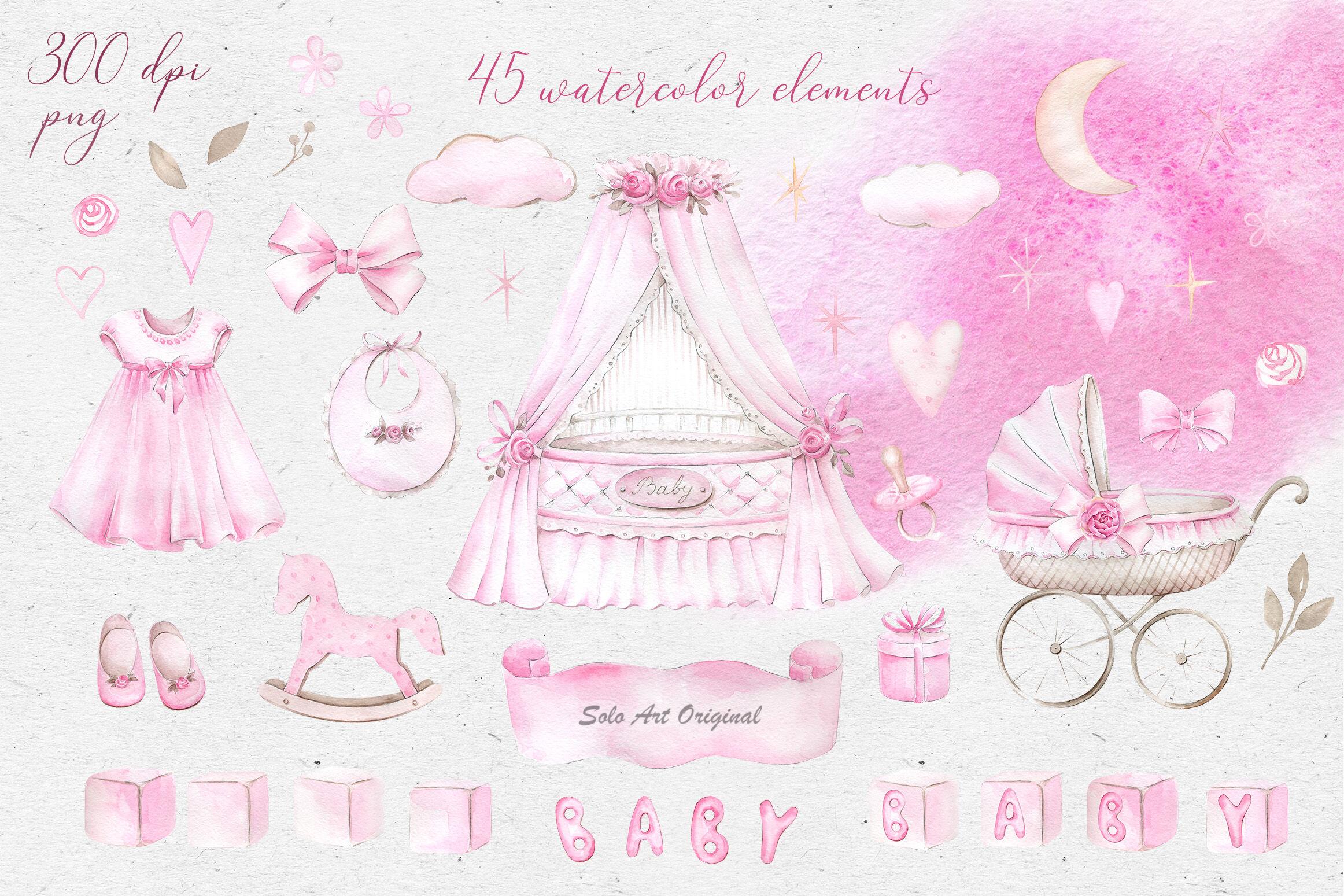 Newborn Baby Girl Clipart Set By Solo Art Original
