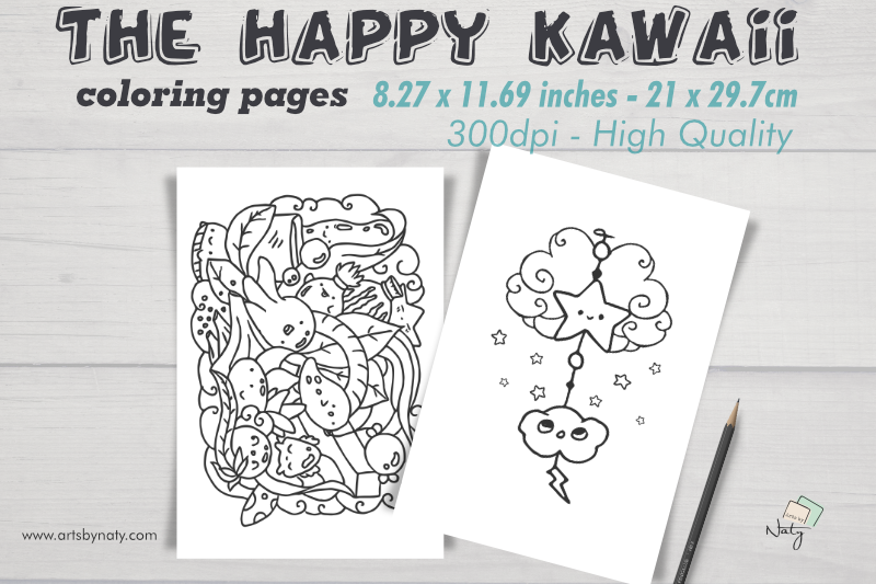The Happy Kawaii Coloring Pages By Artsbynaty Thehungryjpeg Com