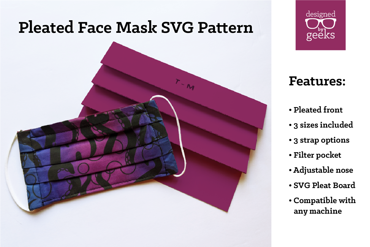 Pleated Face Mask Sewing Pattern With Pleat Board Svg Dxf By