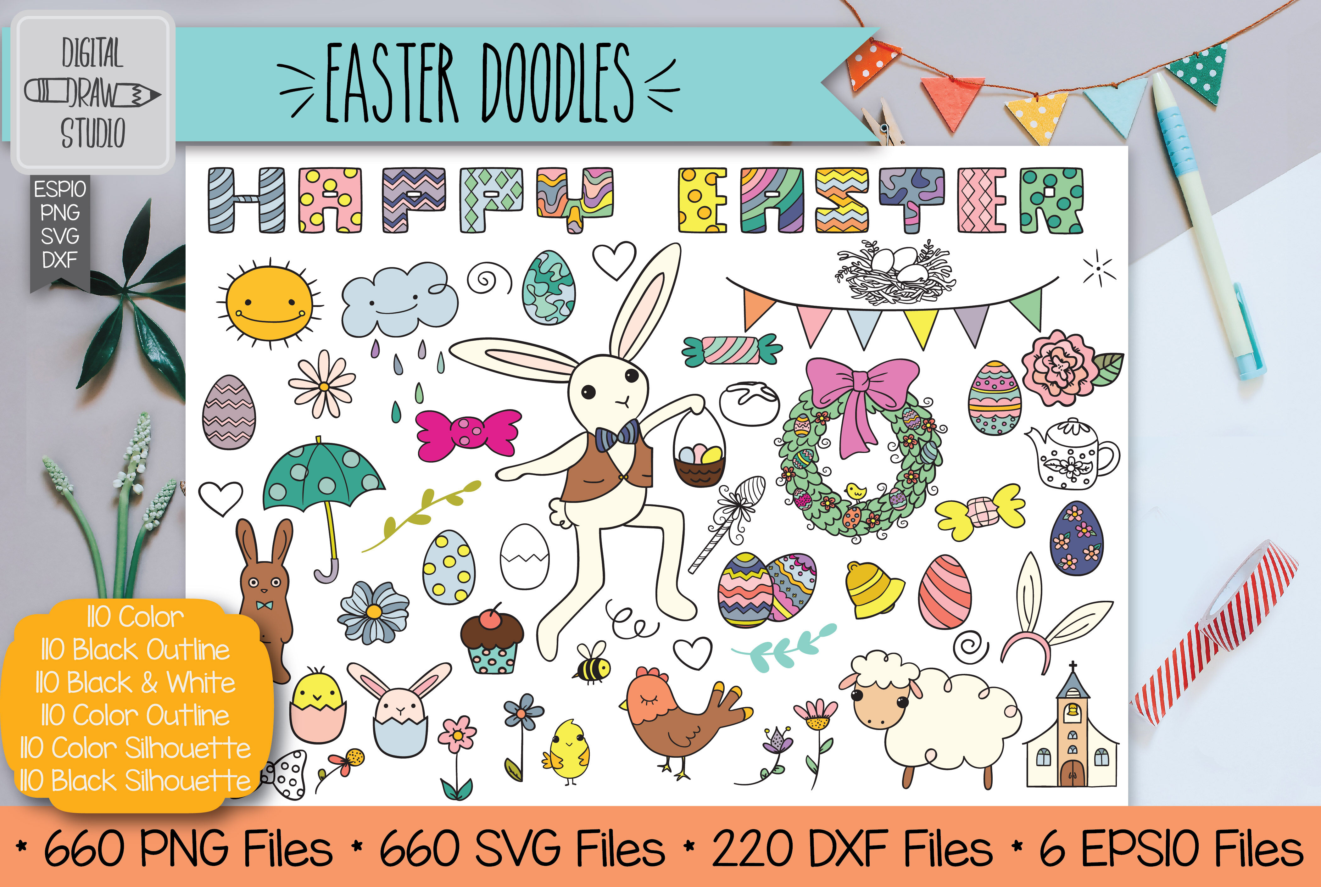 Colored Easter Doodles Clip Art Hand Drawn Decorated Eggs