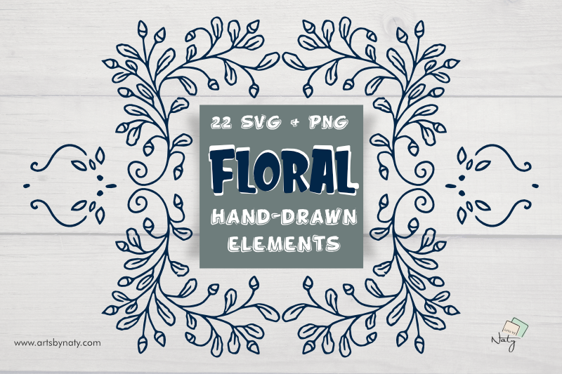 22 Svg And Png Floral Hand Drawn Elements By Artsbynaty