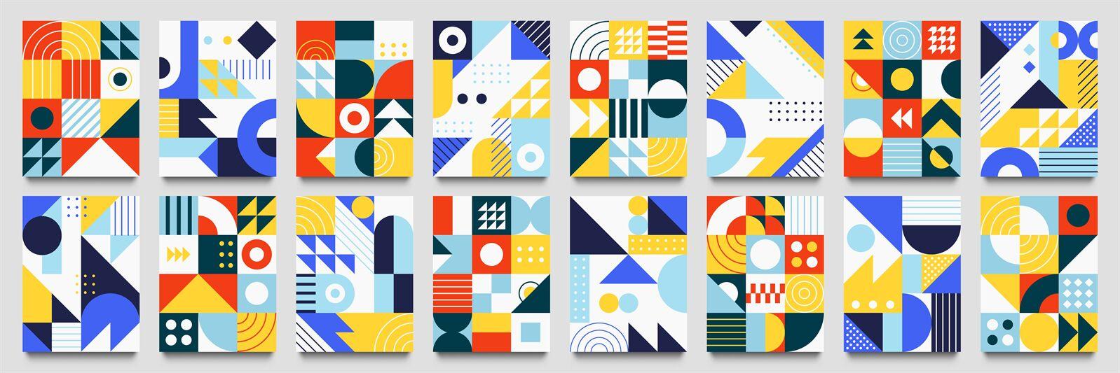 Abstract Geometric Backgrounds Neo Geo Pattern Minimalist Retro