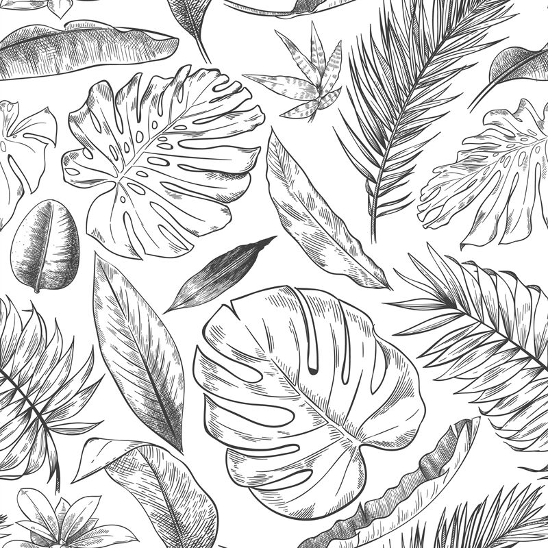 Hand Drawn Tropical Leaves Pattern Sketch Drawing Palm Branch Monste By Tartila Thehungryjpeg Com Leaves svg leaf dividers svg leaves divider hand drawn leaves svg svg leaf dividers for cricut & silhouette. hand drawn tropical leaves pattern