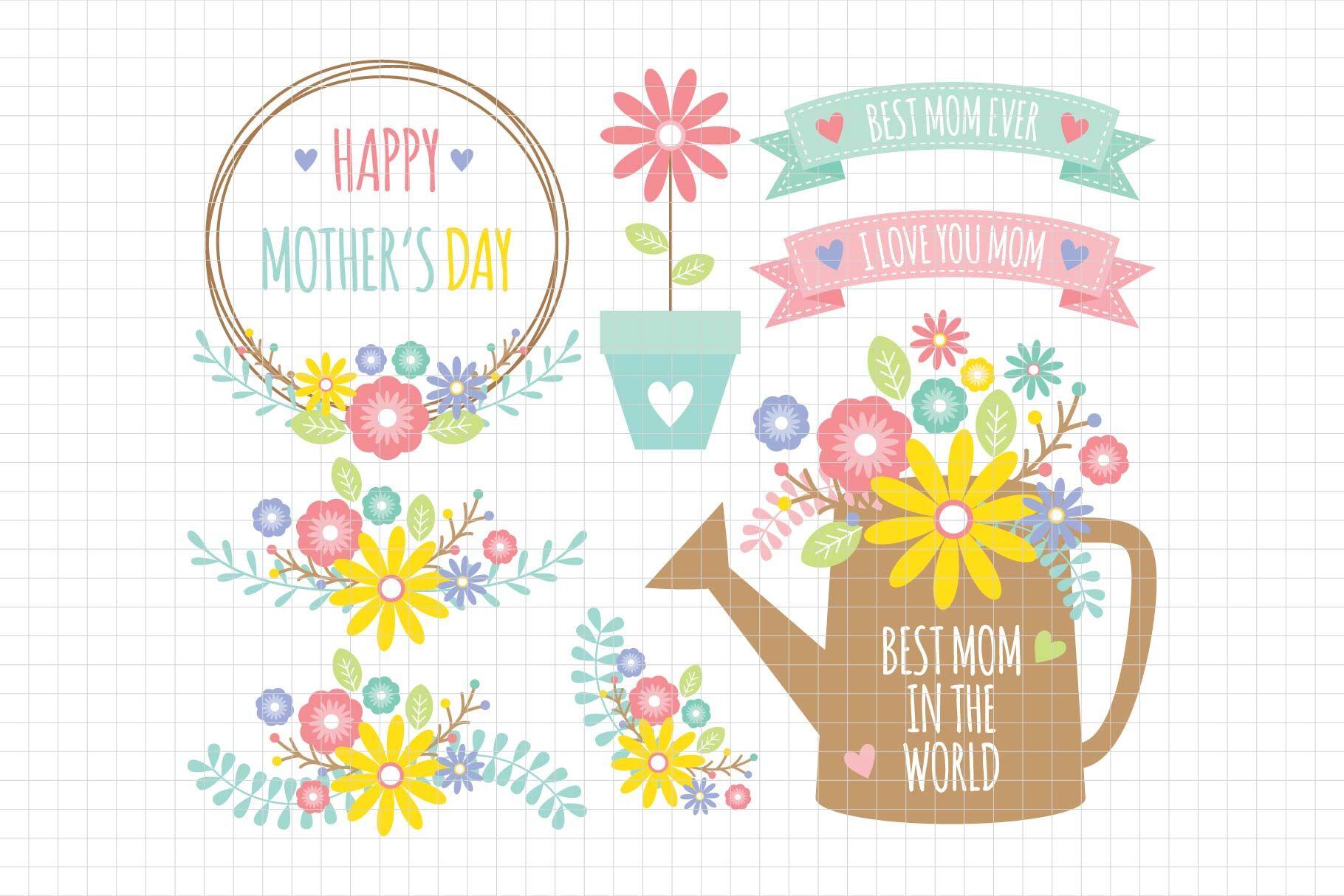 Mother S Day Digital Clipart Les Cl65 By Lemon Elf Studio
