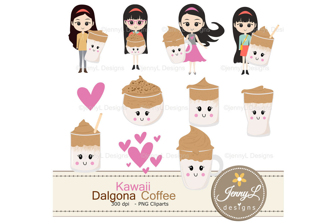 Kawaii Dalgona Coffee Digital Papers And Clipart By Jennyl Designs